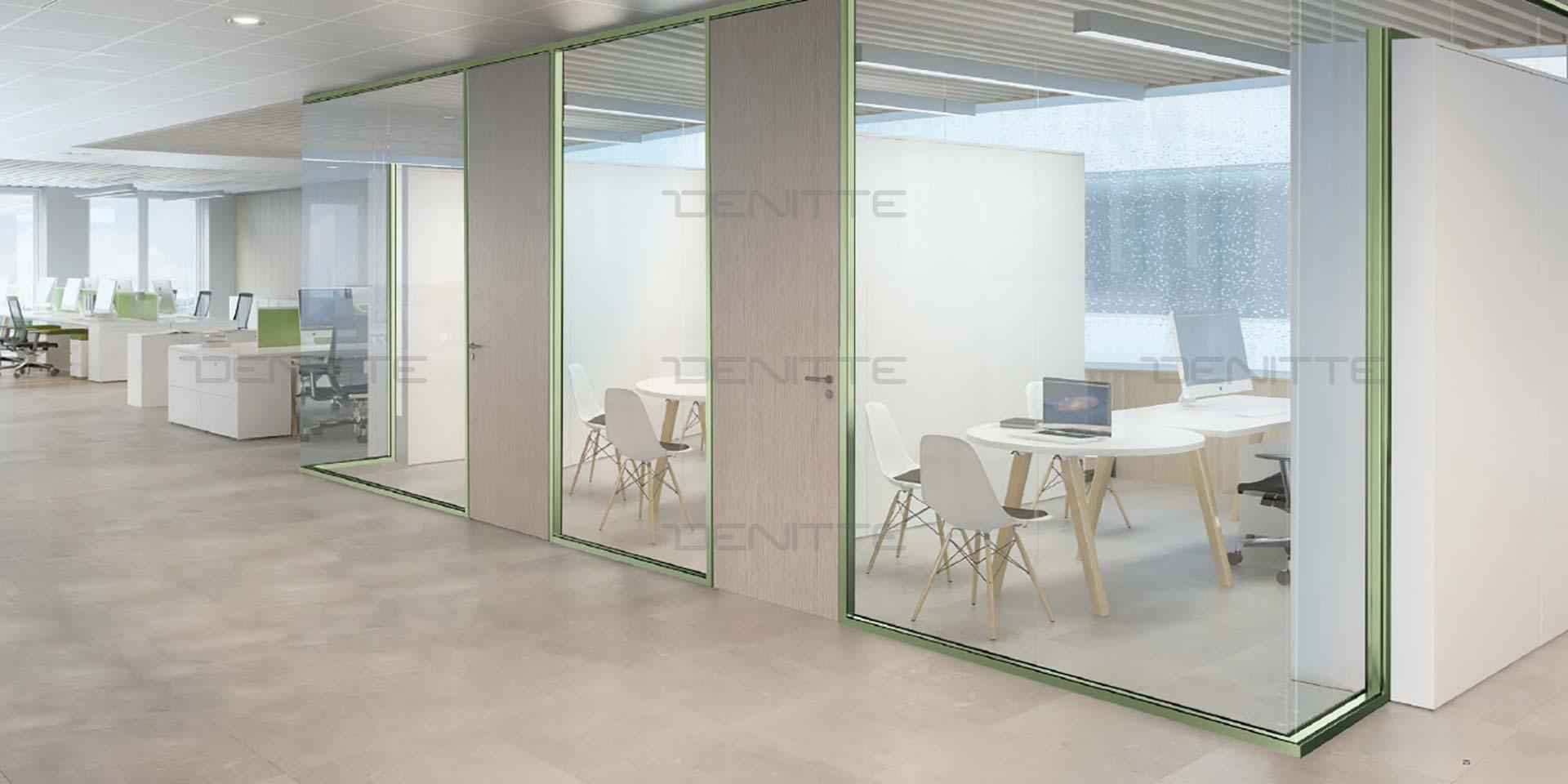 پارتیشن شیشه ای فریم لس دو جداره